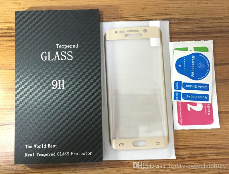 For Galaxy S8 S6 S7 Edge Plus Full Cover Curved Side Tempered Glass Film Screen Protector 0.2mm 3D With Wooden Package
