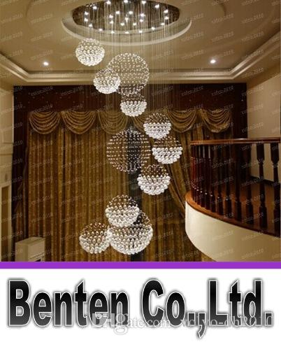 Modern big hall chandelier lighting crystal ball hanging lamp hotel modern big hall chandelier lighting crystal ball hanging lamp hotel villa banquet ceiling fixture decoration lamparas de led llfa5043f blue chandelier aloadofball Choice Image