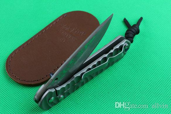 2017 Chris Reeve Sebenza 21 Damascus steel folding blade knife 60HRC TC4 titanium handle EDC pocket fold knives with Black Gift box package