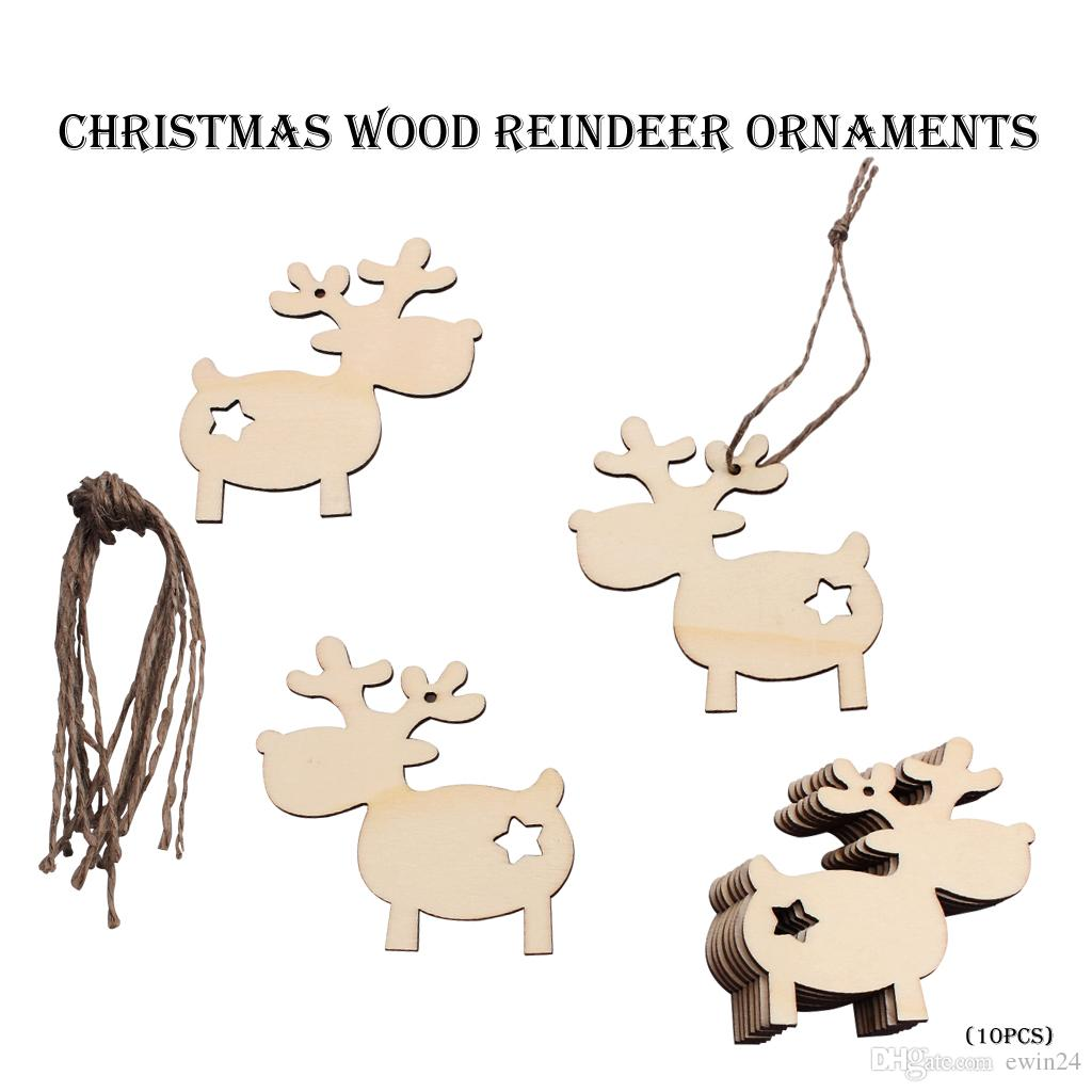 Wooden Christmas Tree Hanging Ornaments Reindeer Pattern Cute Wood Craft Gifts Home Courtyard Decor Wholesale Free Ship