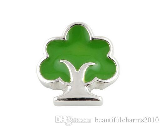 20 قطعة / الوحدة الأخضر شجرة العائلة سبائك العائمة المدلاة سحر يصلح ل diy المغناطيسي الزجاج المعيشة الذاكرة المدلاة أفضل هدية