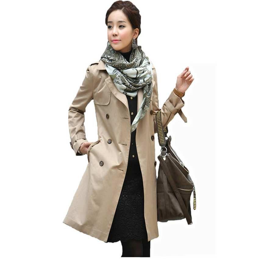 Markenarbeit klassische Trenchcoat rot Windjacke Herbst Kleid Mantel Frauen lange schwarze Damen Mäntel plus Größe Outwear Büro 309
