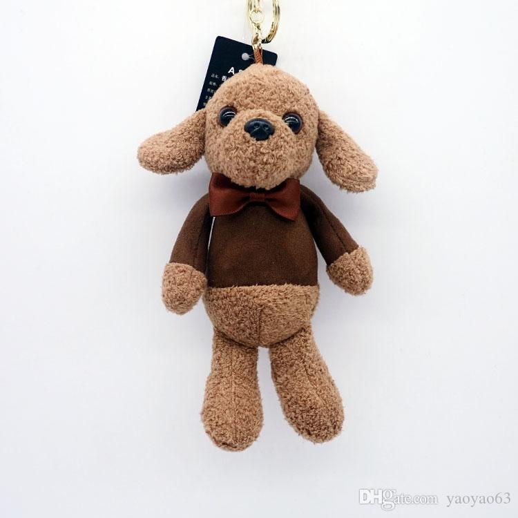 Cartoon plush pendant car key chain cute fragrance bow tie dog doll key chain bag strap