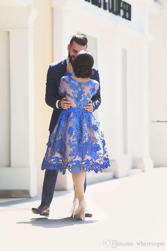 2019 Koninklijke Blauwe Knielengte Homecoming Jurken Lange Mouwen Kant Bloemen Korte Formele Cocktail Party Jurken Prom Gowns