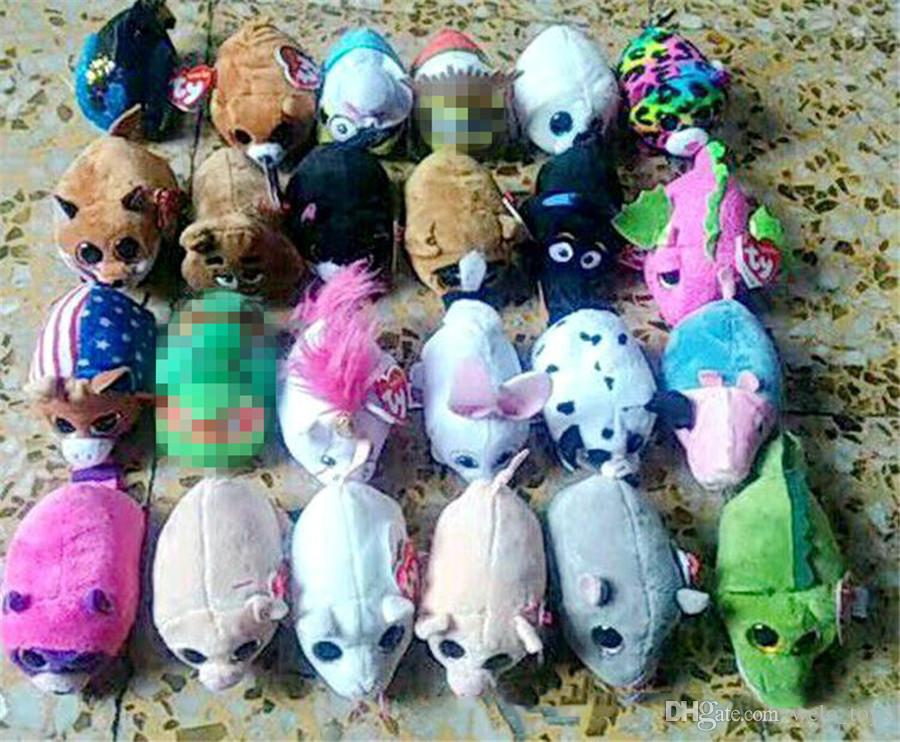 8cm Mini TY Beanie Boos Plush Toys Soft Stuffed Dog Penguin Cat Mouse Big Eyes Animals Dolls Screen Cleaner Toy