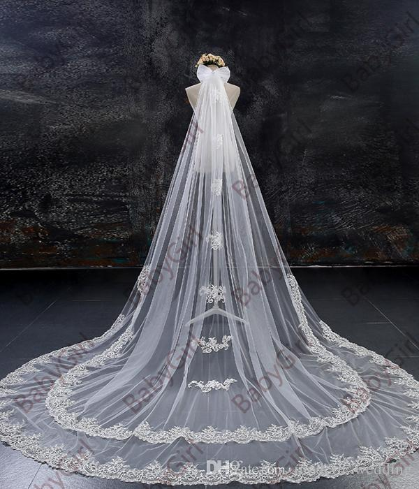 In Stock beautiful Hot Sale White Ivory two layer 3m or 4 meter long length lace Bridal Veil