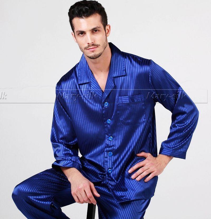 Xmas Gift! Mens Silk Satin Pajamas Set Pajama Pyjamas Pjs Set ...