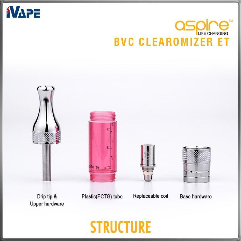 Aspire ET BVC Clearomizers Authentic ET BDC Atomizers 3ml E Electronic ciagerettes Aspire ET Clearomzier with BVC BDC Coil Head Replaceable