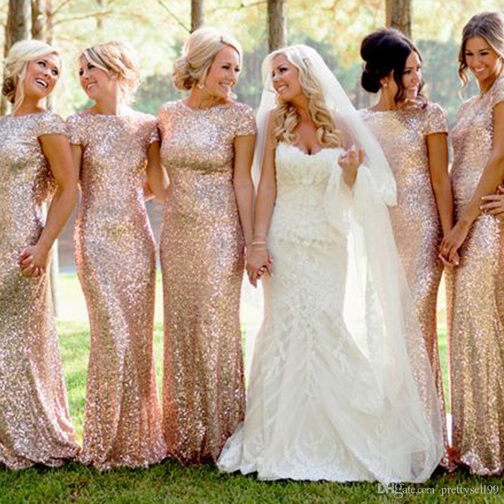골드 스팽글 짧은 소매 인어 신부 들러리 드레스 2021 어깨 스윕 트레인 플러스 사이즈 하녀 명예 드레스