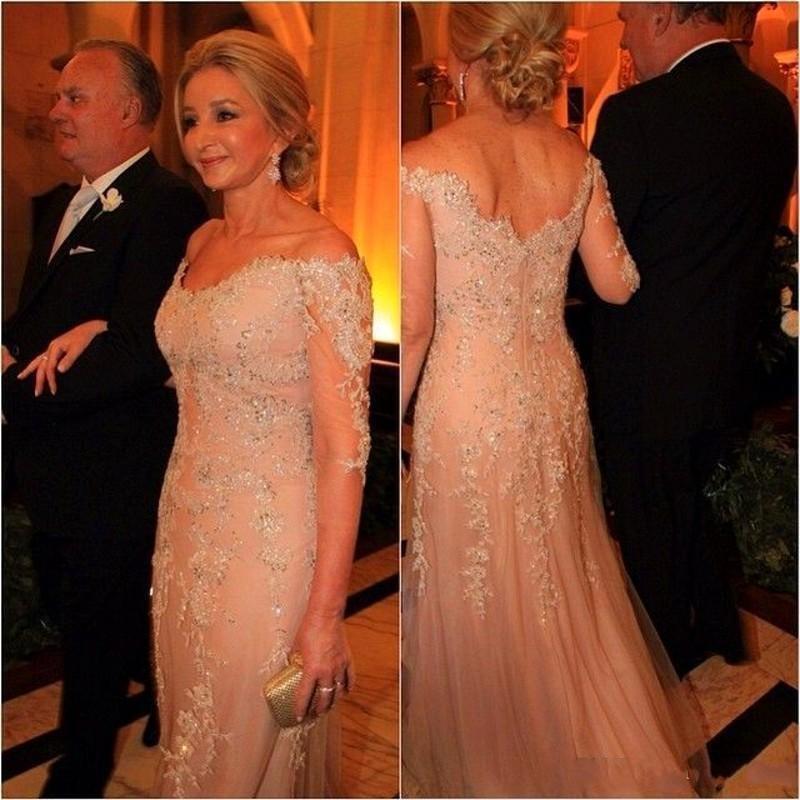 2020 신부 드레스 V 넥 레이스 아플리케 비즈의 우아한 싼 어머니의 긴팔 플러스 사이즈 공식 결혼식 신랑 가운의 어머니