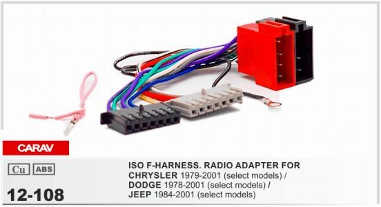 Carav 12 108 Iso F Harness Radio Adapter For Chrysler 1979