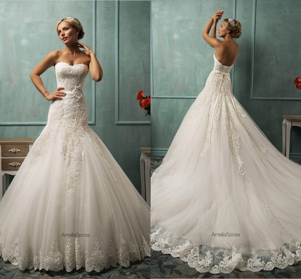 Mermaid Lace Vintage Wedding Dresses Sweetheart Backless