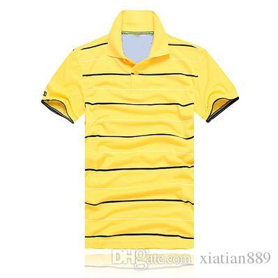 Новая мода вышивка воротник поло полоса мужчины T-shirtsmale с коротким рукавом хлопок поло мальчик спорт