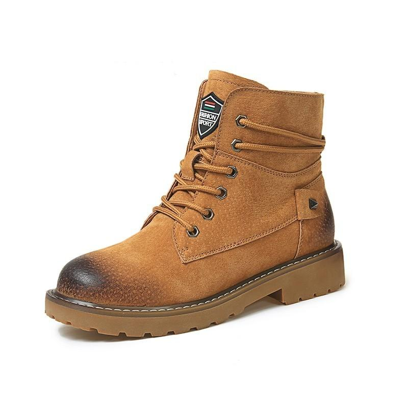 BIMUDUIYU Frauen Martin Stiefel Wildleder Herbst Winter Stiefeletten Hohe Qualität Flache Femmes Schuhe Frauen Muster Retro Kurze Stiefel
