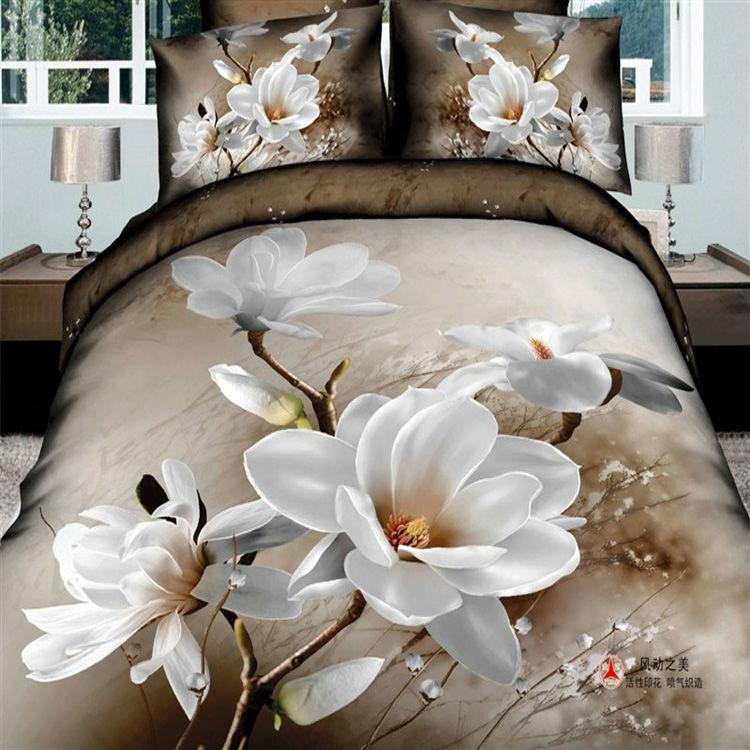 2018 White Pink Floral Bedding Set 3d Flowers Bedclothes King Queen Full  Size Duvet/Quilt/Comforter Cover Bed Sheet Linens Sets From Xinyun8163, ...
