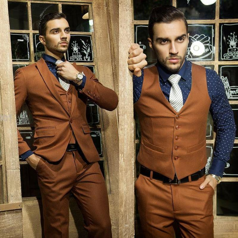 Custom Made Slim Fit 2015 Brown Arabic Wedding Suit For Men Groom ...