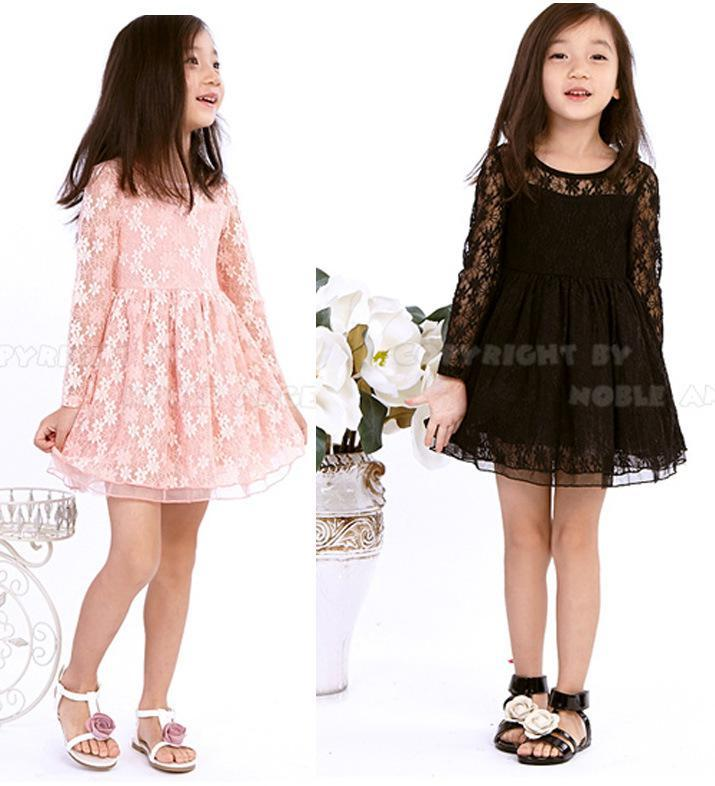 Pink and black lace dresses for toddlers