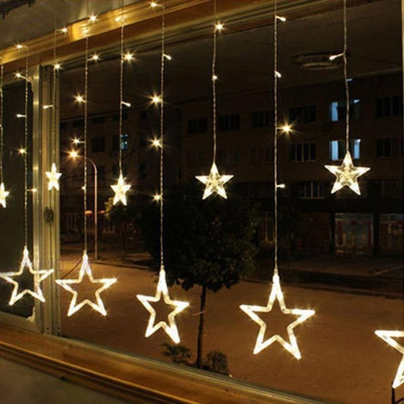 138 LED Curtain Star string Lights Christmas New Year Decoration Christmas Led Lights Christmas Decorations 001