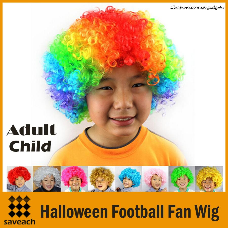 hot child adult party rainbow afro wig clown costume football fan wig halloween hair child adult party rainbow afro wig clown costume football fan wig