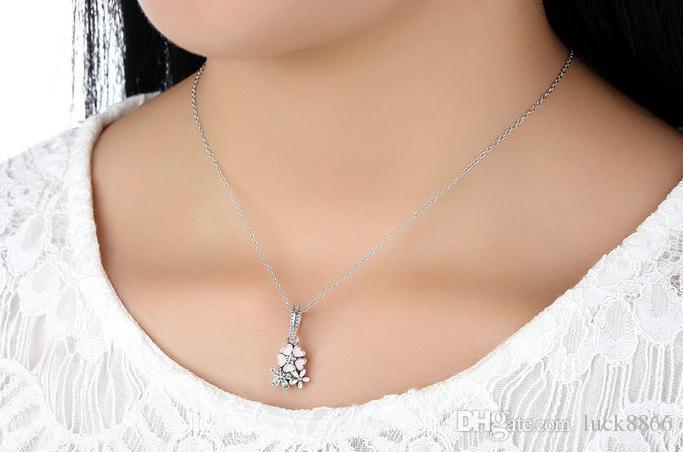 Tropfen Öl kleine frische 100% S925 Sterling Silber Zirkon Anhänger Halskette