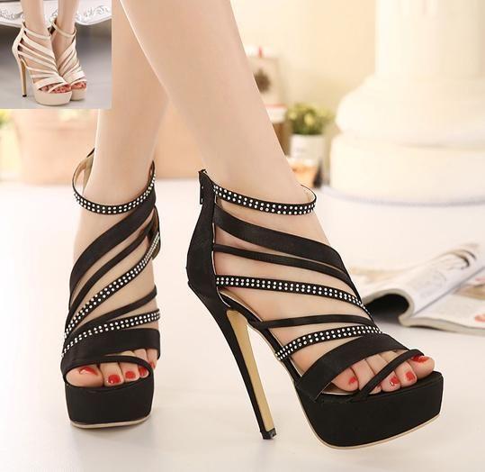 Elegant Rhinestone Gladiator Sandals Satin Shoes 2015 ...