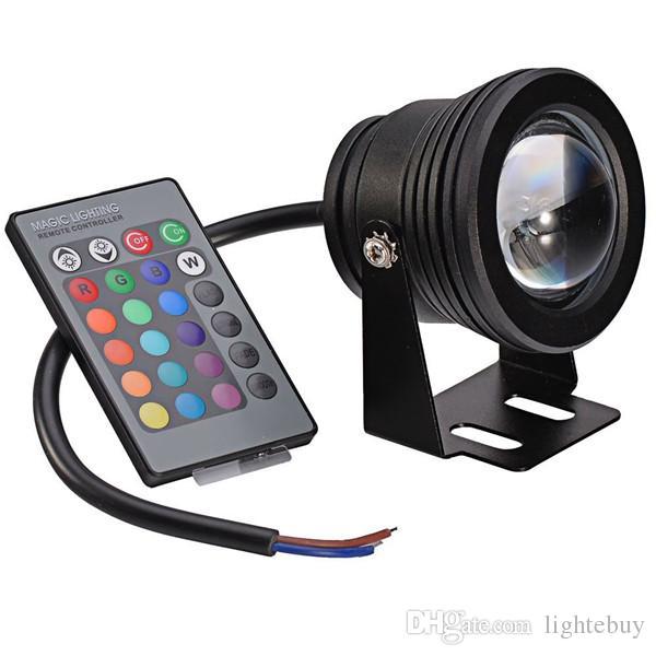 Faretti subacquei a LED impermeabili da 10 W Illuminazione AC DC 12V RGB con telecomando a chiave 24 tasti IR Vendita calda 073-10WRGB