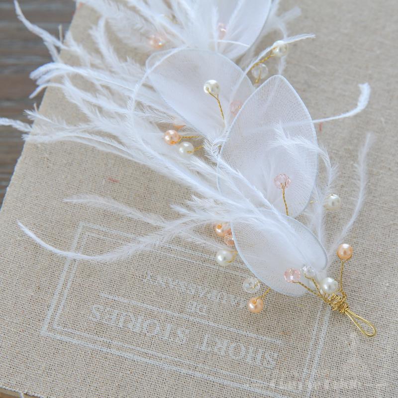 Affascinante piuma gioielli di cristallo perla gioielli ragazza fronte fascia nuziale accessori da sposa ornamenti floreali capelli Regali
