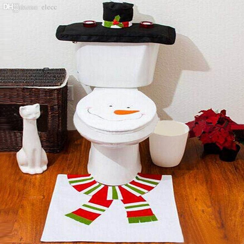 Wholesale Xmas Decora Santa Snowman Toilet Seat Cover Rug Mat Bathroom Set Christmas Supplys Sale Decor Decorations From Sakuna