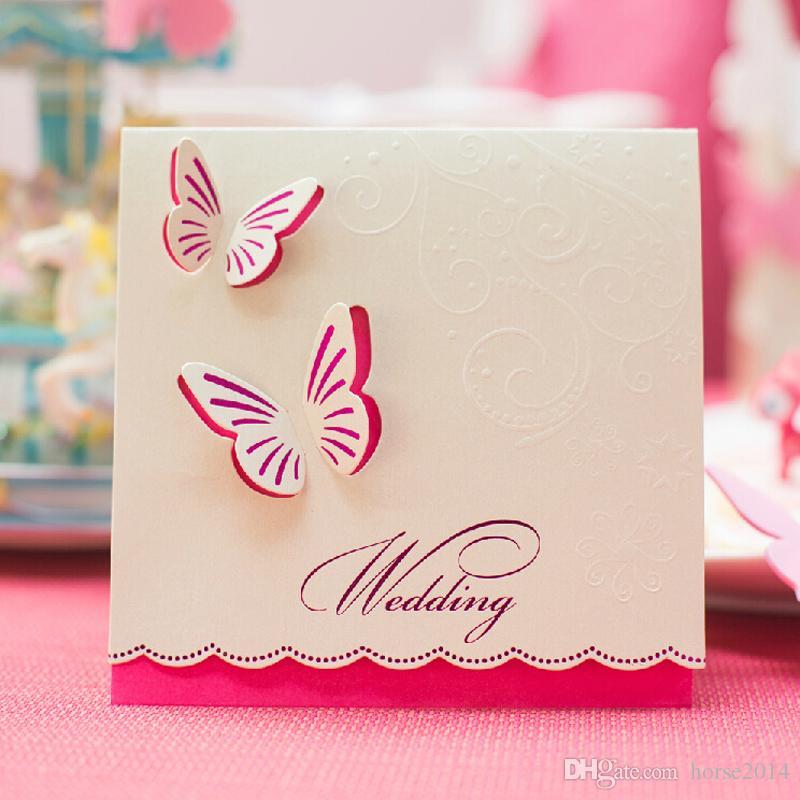 Invitaciones de boda Estilo de mariposa Tarjeta de invitación de diseño elegante Plegado Champán Color Libre personalizado e impresión