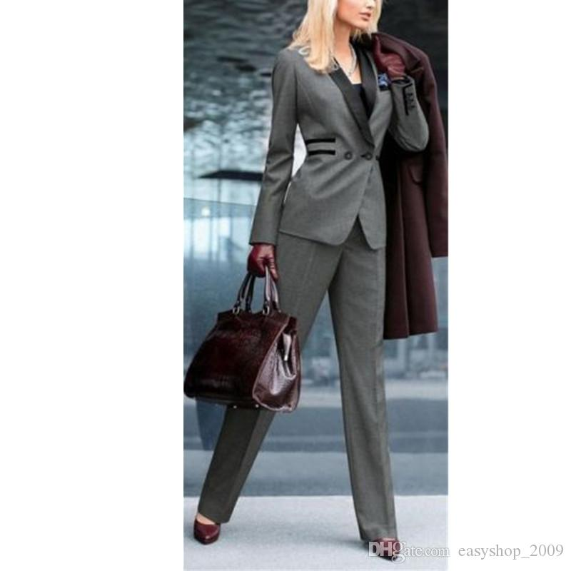 Grey Women Ladies Custom Made Office Business Tuxedos Formal Suits Work Wear jacket + pants made to order