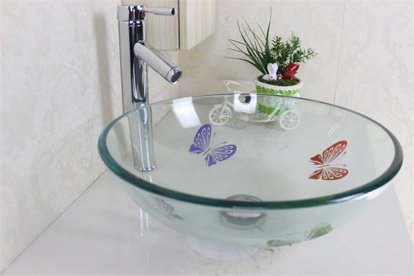 Transparent Hand Painted Butterfly Glass Sink Tempered Glass Vessel Sink  With High Oblique Faucet Set N 523
