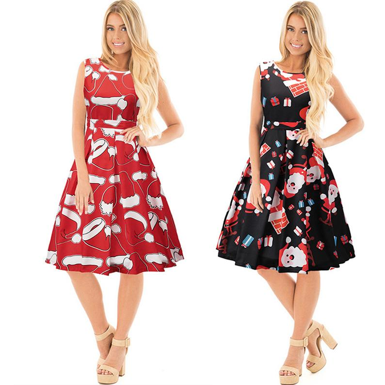 Christmas Costume Dresses For Womens Sleeveless High Waist Night Club Party Dress  Plus Size Women Casual Designer Dresses Print Floral Dress Women Dressed ... b5361a48ad61