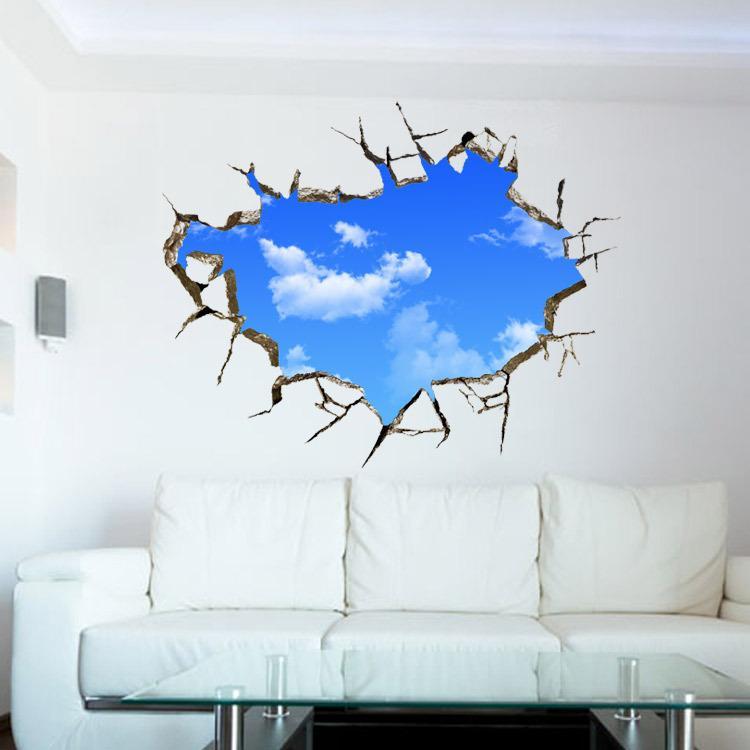 Extra Large 3D Stereo Blue Sky White Cloud Wall Art Murale Decor Soffitto Decorazione Sticker Divano Sfondo Soggiorno Decor Wall Applique