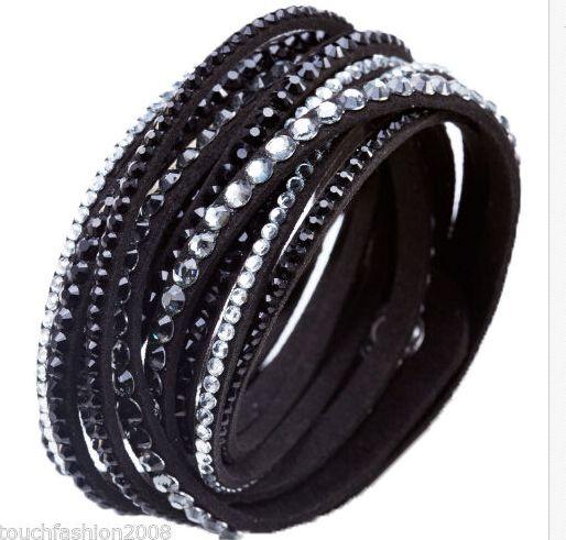 a871845e77f0d Crystal Cuff Leather Bracelet Rhinestone Slake Deluxe Black Bracelet  Swarovski