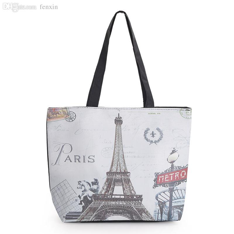 7d990cea7b08 Wholesale 2016 New Arrival Eiffel Tower Printed Canvas Handbag Woman  Fashion Casual Beach Bag Female Single Shoulder Canvas Handbag Mens  Shoulder Bags ...