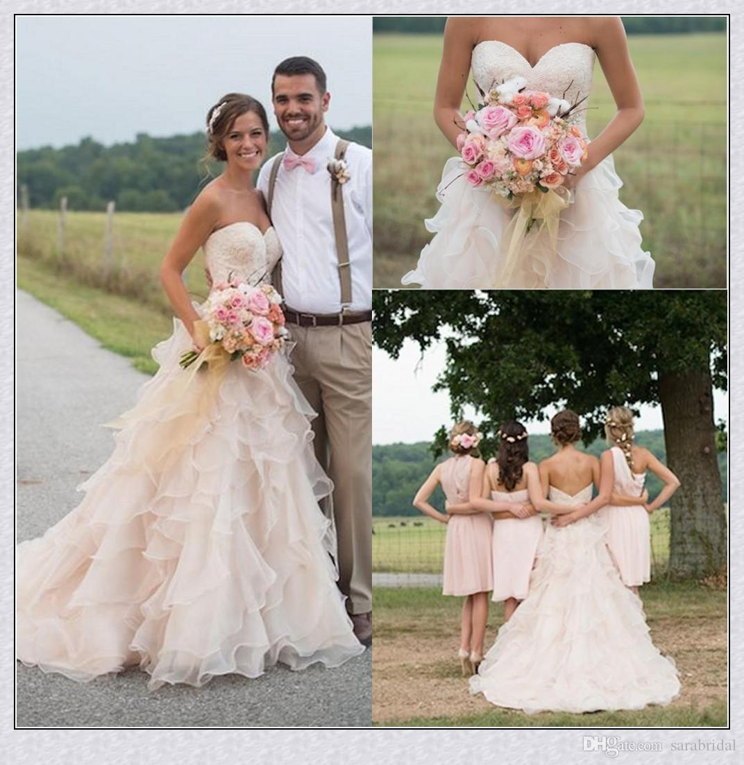 Blush pink country wedding dresses with ruffles sweetheart for High low ball gown wedding dress