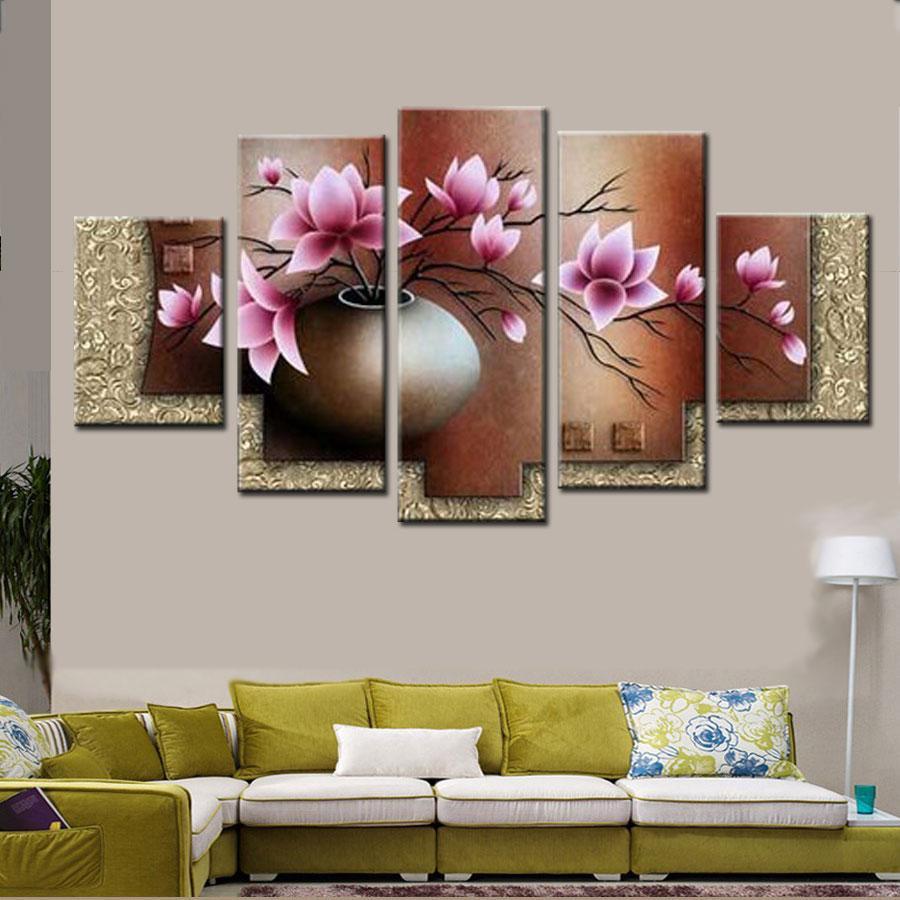 5 Pièce Mur Art Décor Image Set Peint À La Main Moderne Abstrait Rose Fleurs dans Vase Peinture À L'huile Sur Toile Paysage Vente Aucun Encadré