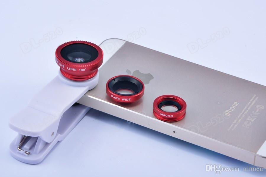 2015 En çok satan Evrensel 3 in1 Klipsli Balık Göz Lens Geniş Açı Makro Mobil Lens iphone 4 5 Samsung Galaxy S4 S5 Tüm Telefonlar balıkgözü