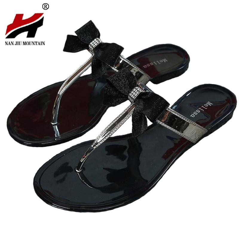 Shes Women 2017 New Summer Women Flip Flops Slippers Flat Sandals Bow Rivet Fashion Pvc Crystal Beach Shoes Ladies Summe Slides