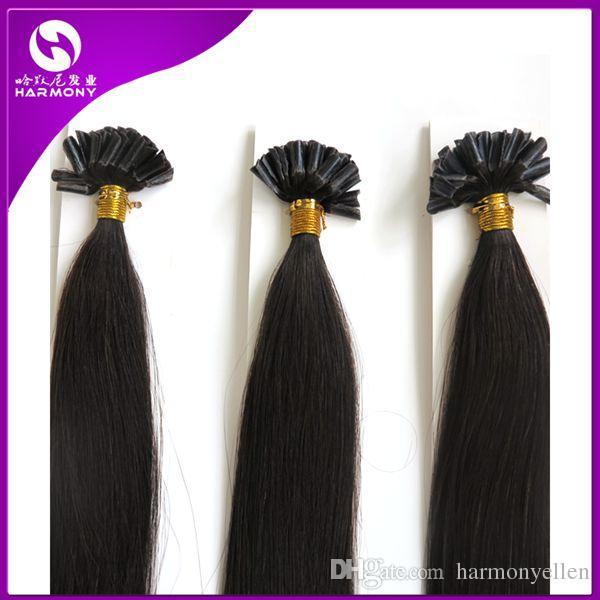 Venta al por mayor 100% brazilianhair 20 `` 1g strand u tip keratin extensión de cabello humano para mujeres negras