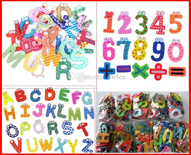 3280PCS Fedex Ship Mixed 26 Letters + 15 Number Figure Educational Kids and Children Funny Wooden fridge magnet stick & (1pack for 41pcs)