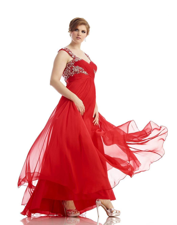 Long red dresses evening plus