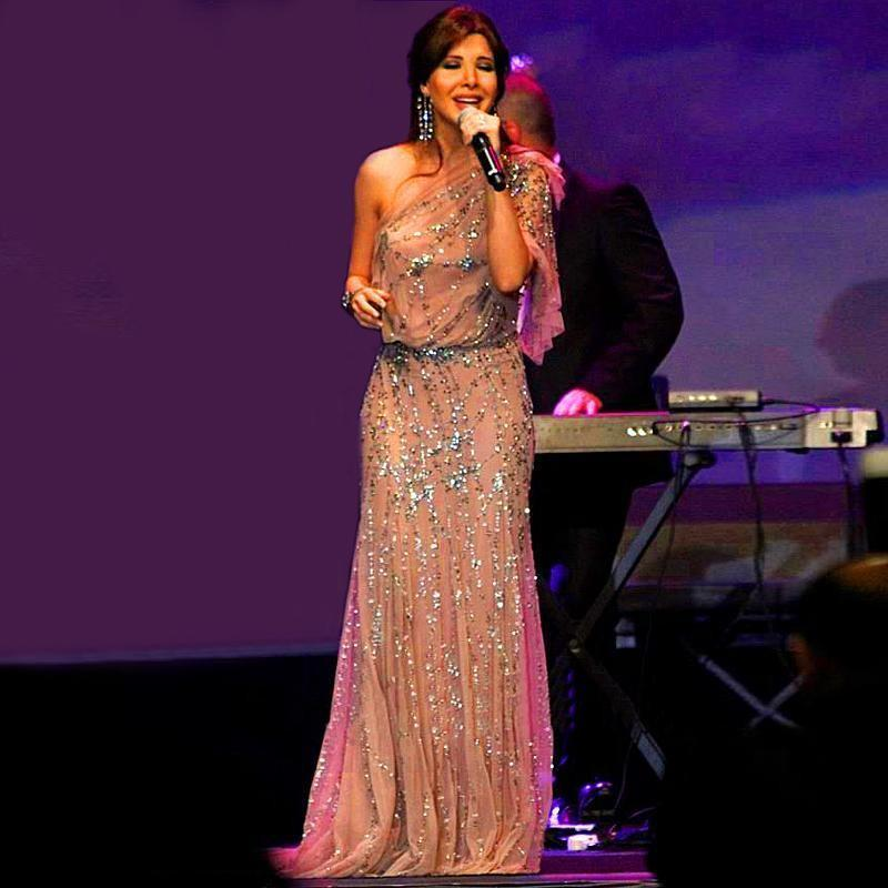 Nancy Ajram Celebrity Dresses 2016 Luxus Mermaid One Shoulder Abendkleid bodenlangen funkelnden Perlen Prom Abendkleider Jenny Packham