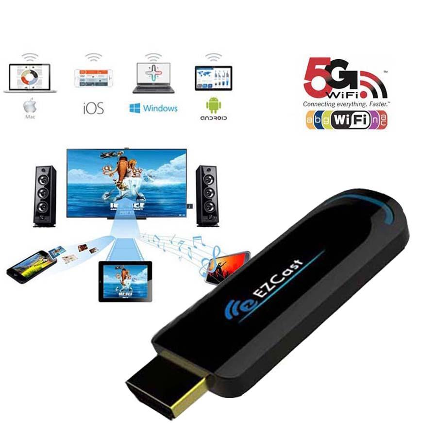 Ezcast 5G Best Smart tv Stick Dongle Miracast HDMI Mirror2 TV Airplay DLNA  for android ios window OS better than android tv