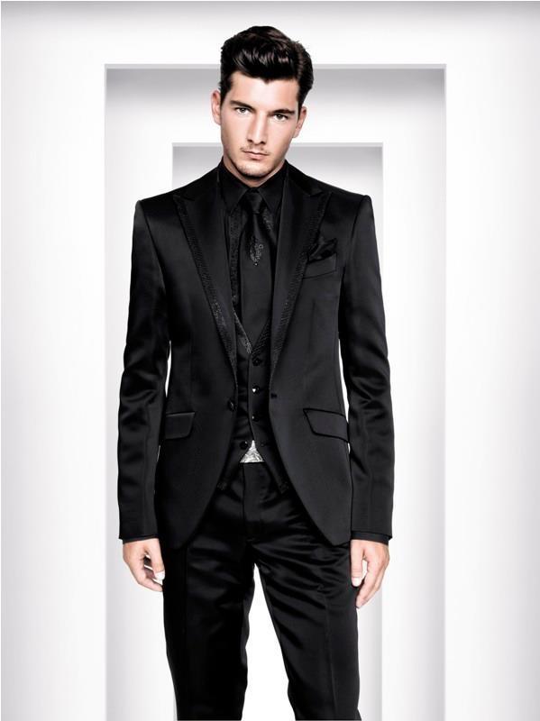 Slim Fit Suits Peaked Lapel Tuxedos Black Wedding Suits For Men 2015 ...