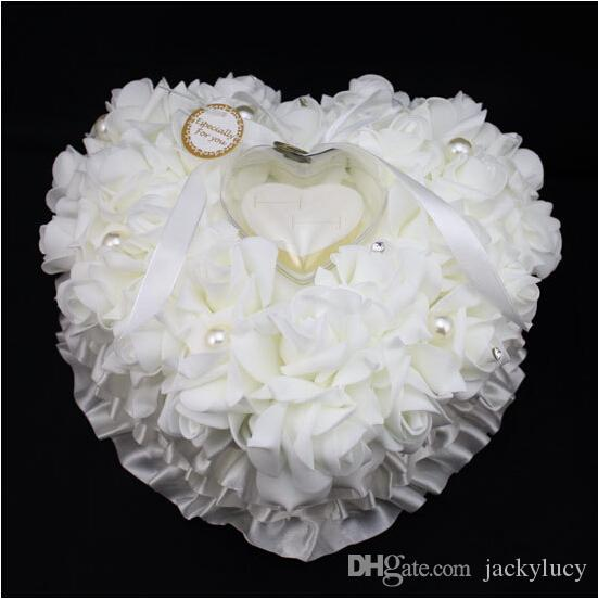 White Pink Red Purple Blue Crystal Pearl Crystal Organza Satin Lace Bearer Ring Pillow Flower Rose Pillows Bridal Beaded Wedding Favors Box