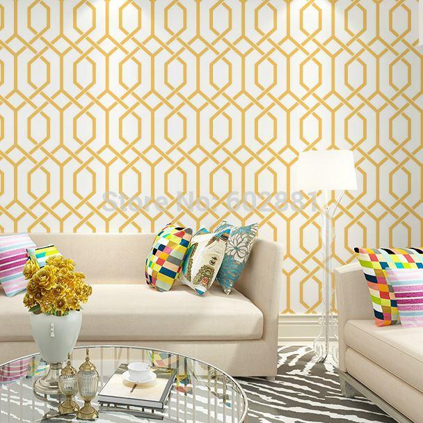 6257 Modern Hourglass Trellis WallpaperHerringbone Geometric Home Wall PaperGreen Orange W053mL10m Roll Wallpapers Mobile Hd Of Nature From