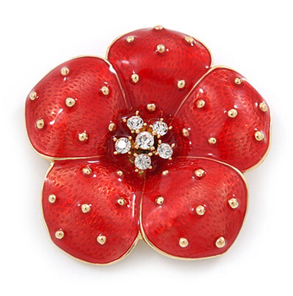 1,8-дюймовый золотой тон красный изумрудный прозрачный горный хрусталь кристалл Diamante P O P P Y цветок значок брошь оптом