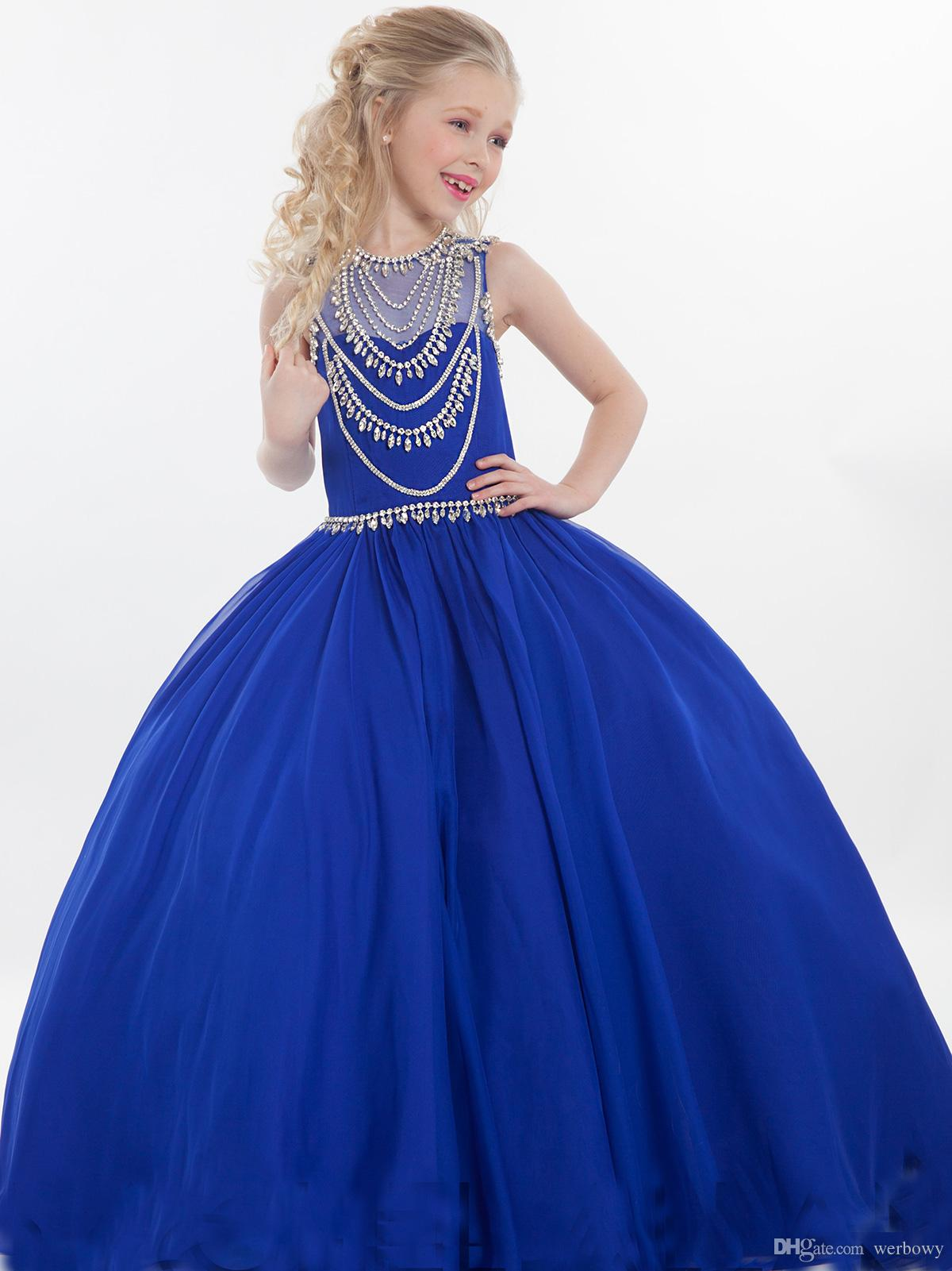 2020 Hot Sales Red Royal Blue Girls Pageant Dresses Jewel Ball Gown Floor Length Rachel Allan Evening Dresses For Wedding HY1130