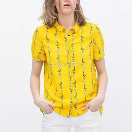 Fashion Ladies Cute Crane Yellow Blouses Turn Down Collar Short